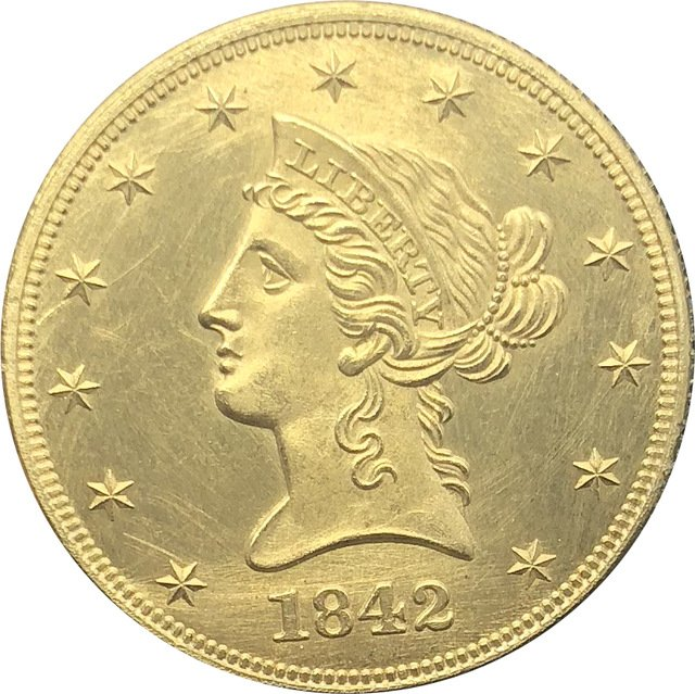 1 Pcs US 1842-O Liberty Ten Dollars Head Eagle Without Motto Gold Copy Coins