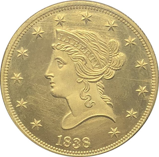 1 Pcs US 1838 Liberty Ten Dollars Head Eagle Without Motto Gold Copy Coins