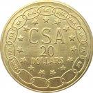 1 Pcs US CSA 1861 Confederate Twenty Dollars Gold Coin Brass Metal Copy Coins