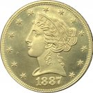 1 Pcs US 1887-S Liberty Head Five Dollars Motto Above Eagle In God We Trust Gold Copy Coins