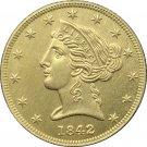 1 Pcs US 1842-D Liberty Head Five Dollars Motto Above Eagle In God We Trust Gold Copy Coins