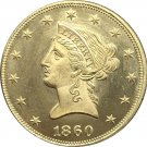 1 Pcs US 1860-O Liberty Ten Dollars Head Eagle Without Motto Gold Copy Coins