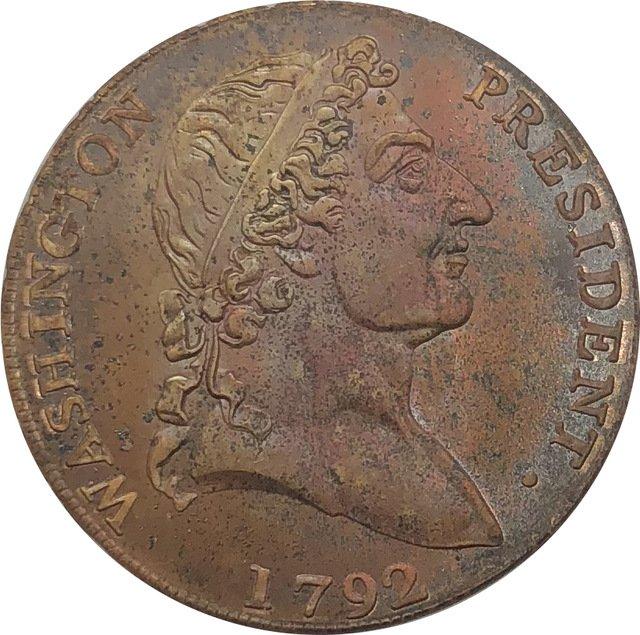 1 Pcs US 1792 Cent Roman Head Lettered Edge Washington President Red Copper Copy Coin