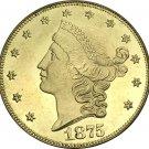 1 Pcs US 1875-S Liberty Twenty Dollars In God We Trust Gold Copy Coins