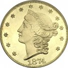 1 Pcs US 1874-S Liberty Twenty Dollars In God We Trust Gold Copy Coins