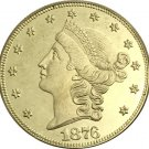 1 Pcs US 1876-S Liberty Twenty Dollars In God We Trust Gold Copy Coins