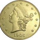 1 Pcs US 1906-S Liberty Twenty Dollars In God We Trust Gold Copy Coins