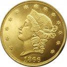1 Pcs US 1866 Liberty Head Twenty Dollars Gold Copy Coins