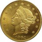 1 Pcs US 1864 Liberty Head Twenty Dollars Gold Copy Coins
