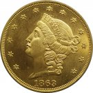 1 Pcs US 1863 Liberty Head Twenty Dollars Gold Copy Coins