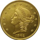 1 Pcs US 1862 Liberty Head Twenty Dollars Gold Copy Coins