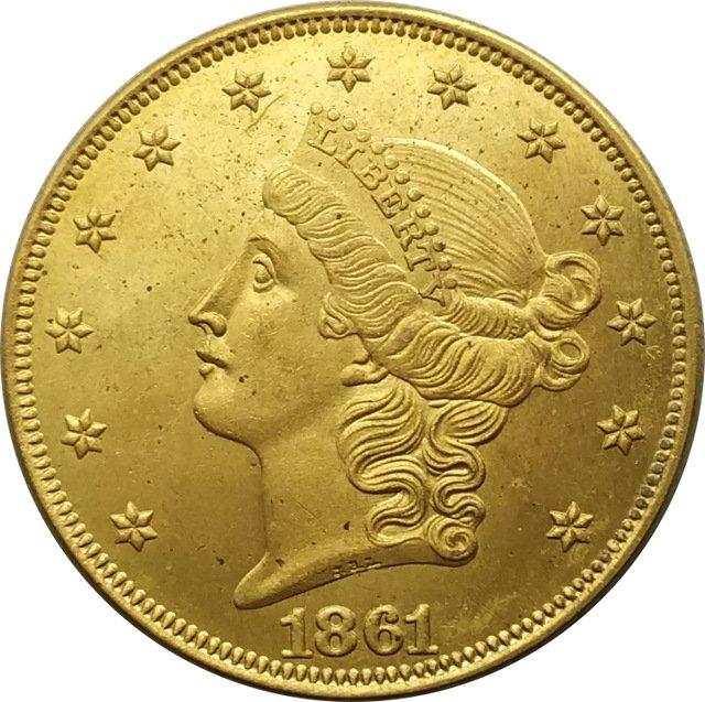 1 Pcs US 1861 Liberty Head Twenty Dollars Gold Copy Coins