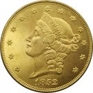 1 Pcs US 1852 Liberty Head Twenty Dollars Gold Copy Coins