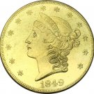 1 Pcs US 1849 Liberty Head Twenty Dollars Gold Copy Coins