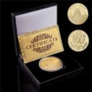 USA Annuit Ceptis Annuit Ceptis Masonic Gold Plated Challenge Souvenir Coin With Box