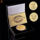 2013 USA Walking Liberty Goddess Gold Plated Challenge Coin With Box