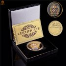 USA Army Sniper Sharpshooter One Shoot One Kill Gold Plated Challenge Coin With Box