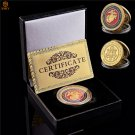 US Marine Corps Gold Plated Military Metal Medal Challenge Coin With Box