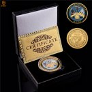 US Department Of The Navy Gold Plated Metal Military Challenge Coin With Box