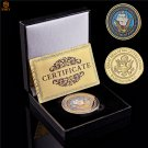 USA Army Department Of The Navy Gold Plated US Washington D.C Military Challenge Coin With Box