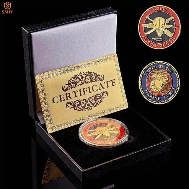 USA Marine Corps Force Recon USMC Gold Military Challenge Coin With Box