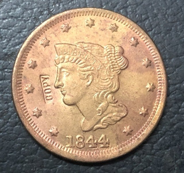 1 Pcs 1844 US Braided Hair Large One Cent Copy Coins  For Collection