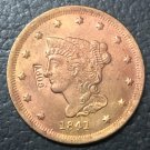 1 Pcs 1841 US Braided Hair Large One Cent Copy Coins  For Collection