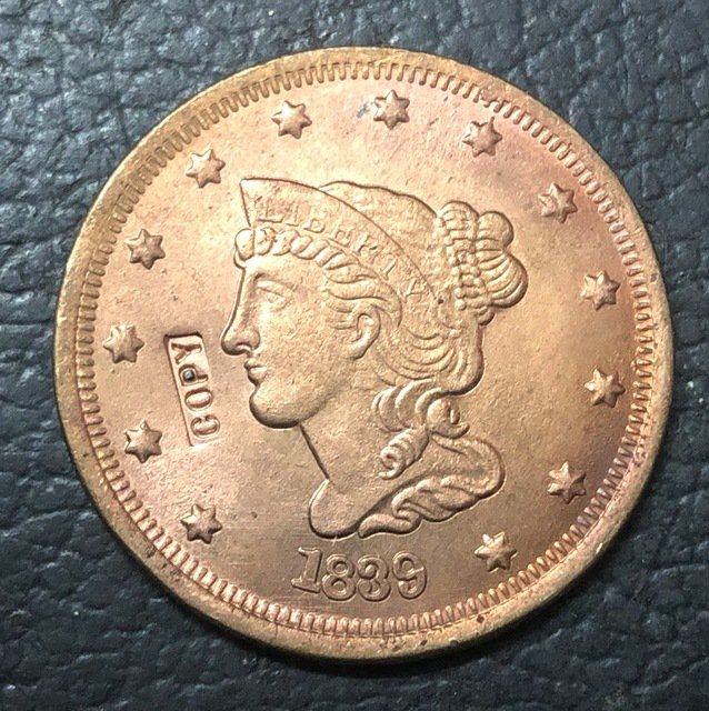 1 Pcs 1839 US Braided Hair Large One Cent Copy Coins (Without Copy Logo)