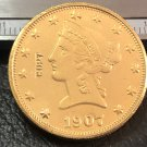 1 Pcs 1907-S Liberty Head $10 Ten Dollar Copy Coins (Without Copy Logo)