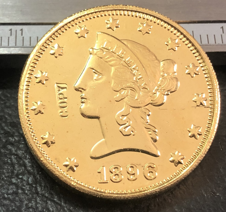 1 Pcs 1896-S Liberty Head $10 Ten Dollar Copy Coins  For Collection