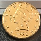 1 Pcs 1882-P Liberty Head $10 Ten Dollar Copy Coins-(Without Copy Logo)