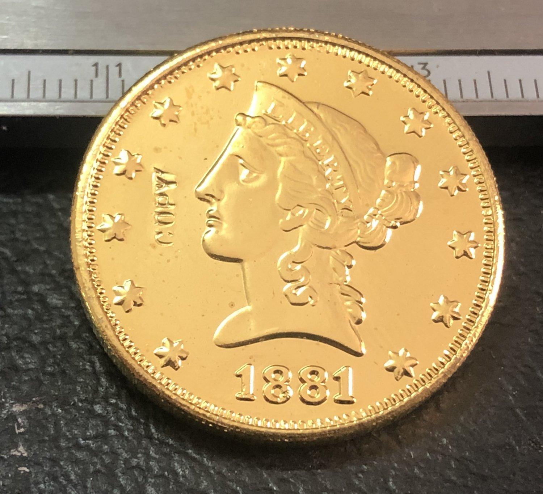 1 Pcs 1881-CC Liberty Head $10 Ten Dollar Copy Coins- For Collection