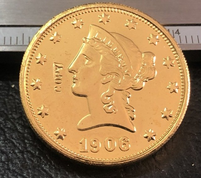 1 Pcs 1906-S Liberty Head $10 Ten Dollar Copy Coins-(Without Copy Logo)