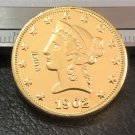 1 Pcs 1902-S Liberty Head $10 Ten Dollar Copy Coins-(Without Copy Logo)