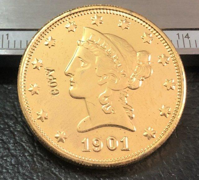 1 Pcs 1901-O Liberty Head $10 Ten Dollar Copy Coins- For Collection