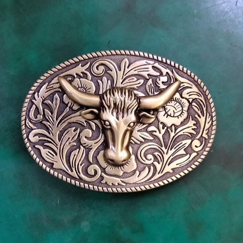 1 Pcs Bronze Flower Pattern Bull Head Men Western Cowboy Cowgirl Belt Buckle