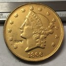 1 Pcs 1866 Liberty Head $20 Twenty Dollar Copy Coins (Without Copy Logo)