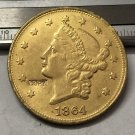 1 Pcs 1864 Liberty Head $20 Twenty Dollar Copy Coins (Without Copy Logo)