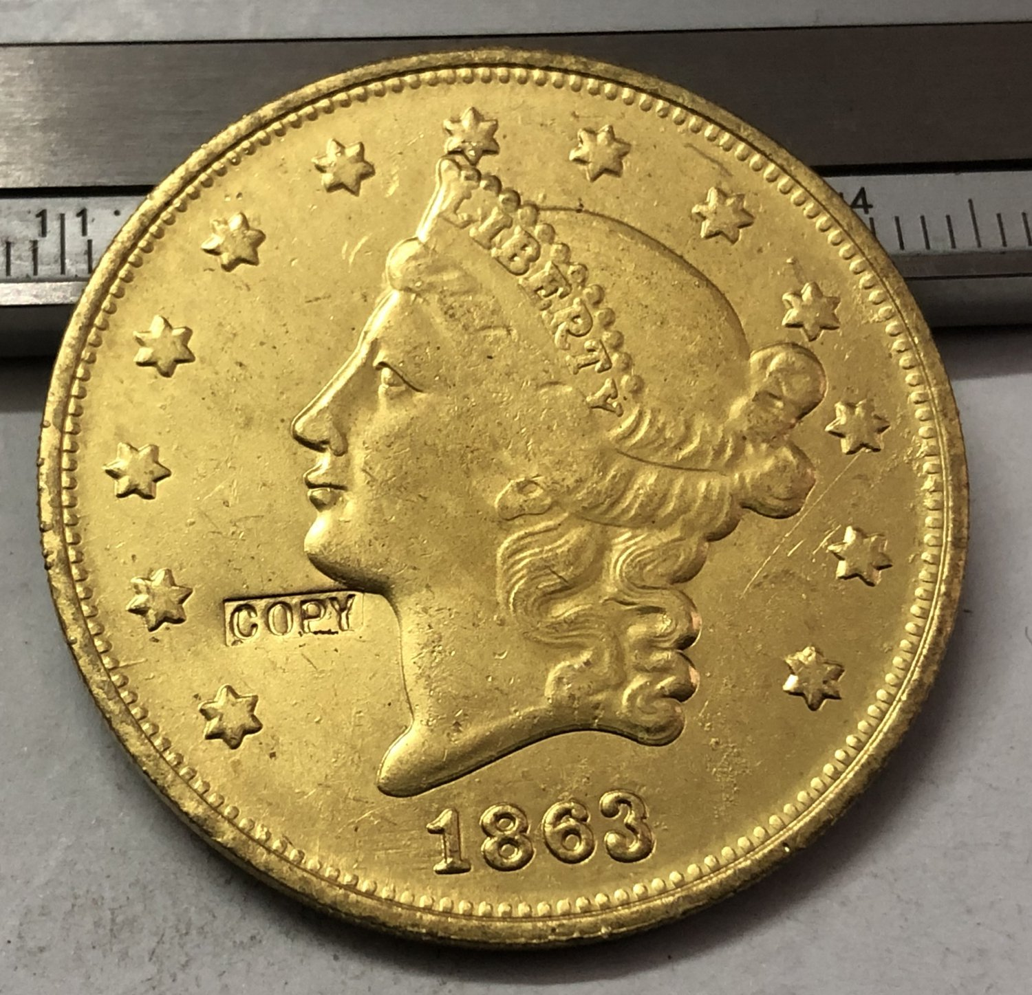 1 Pcs 1863 Liberty Head $20 Twenty Dollar Copy Coins  For Collection