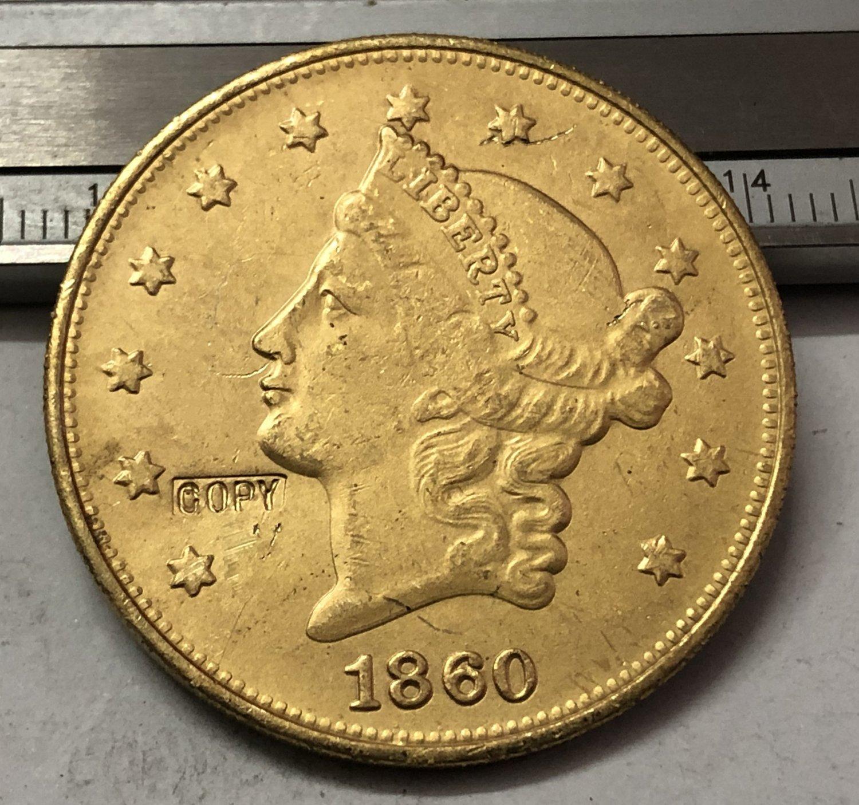 1 Pcs 1860 Liberty Head $20 Twenty Dollar Copy Coins  For Collection