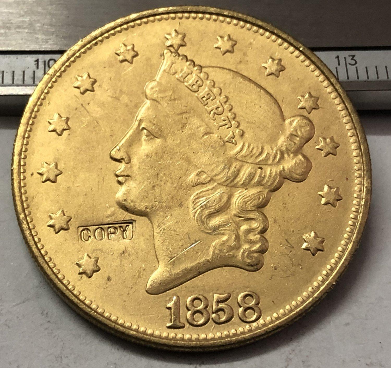 1 Pcs 1858 Liberty Head $20 Twenty Dollar Copy Coins  For Collection