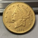 1 Pcs 1851 Liberty Head $20 Twenty Dollar Copy Coins  For Collection