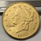 1 Pcs 1850 Liberty Head $20 Twenty Dollar Copy Coins  For Collection