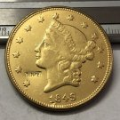 1 Pcs 1849 Liberty Head $20 Twenty Dollar Copy Coins (Without Copy Logo)