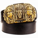 Men's Leather Belts With Lighters Indian Chief Cowboy Metal Buckle Jeans Waistband PU Leather Belts