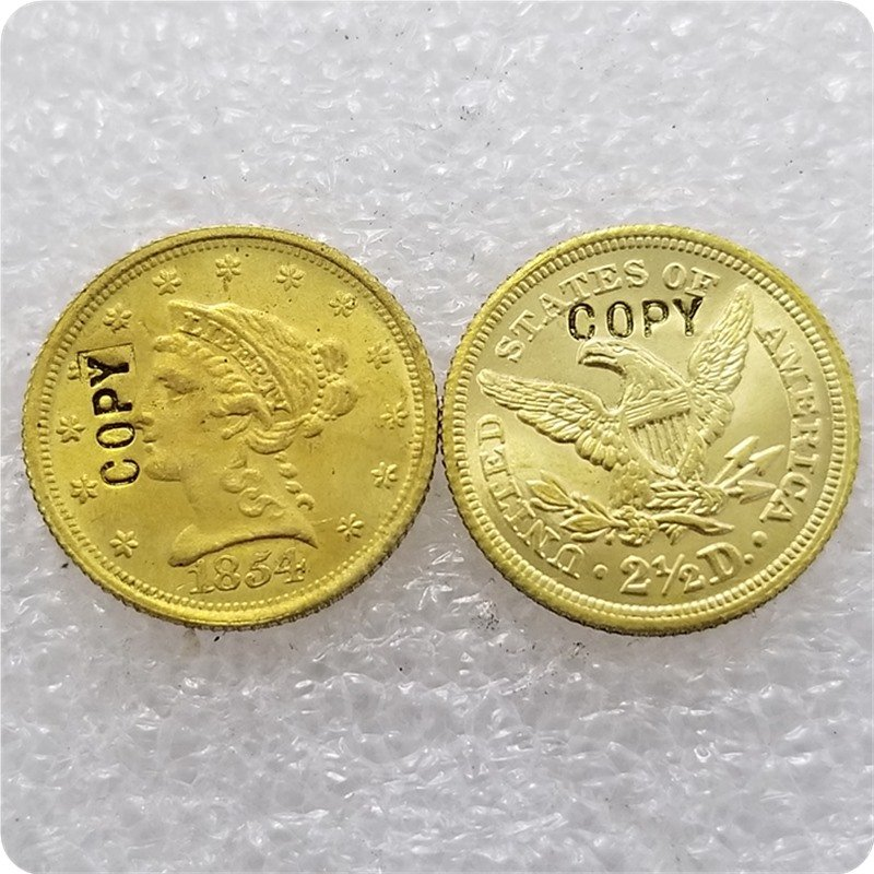 1 Pcs USA 1854 Liberty $2.5 Quarter Eagle Gold Copy Coins  For Collection