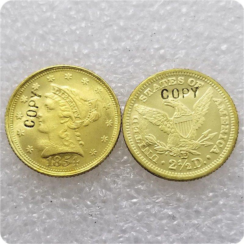 1 Pcs USA 1854-D Liberty $2.5 Quarter Eagle Gold Copy Coins  For Collection