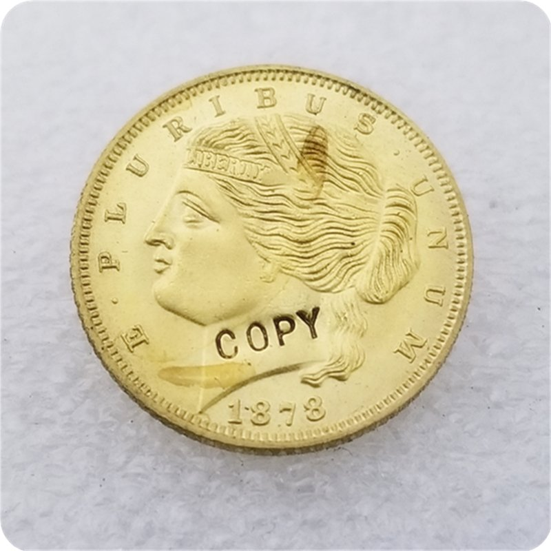 """1 Pcs USA 1878 $5.00 """"Double Hair Bands"""" Five Dollar Liberty Patterns Copy Coins  For Collection"""
