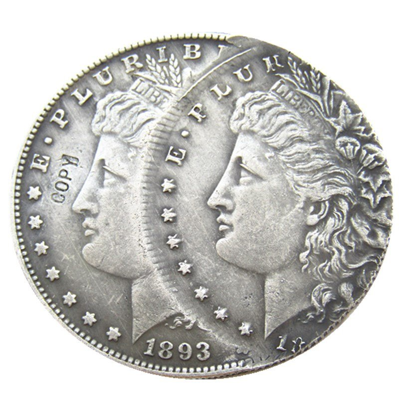 1 Pcs US 1893S Morgan Dollar Two Faces Error Silver Plated Copy Coin  For Collection