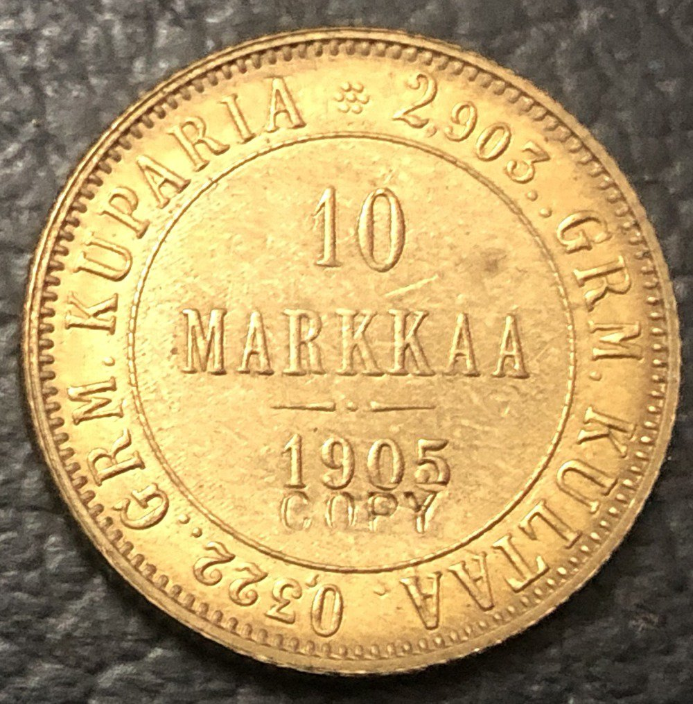 1905 Finland 10 Markkaa-Aleksandr II / Nikolai II Copy Gold Coin